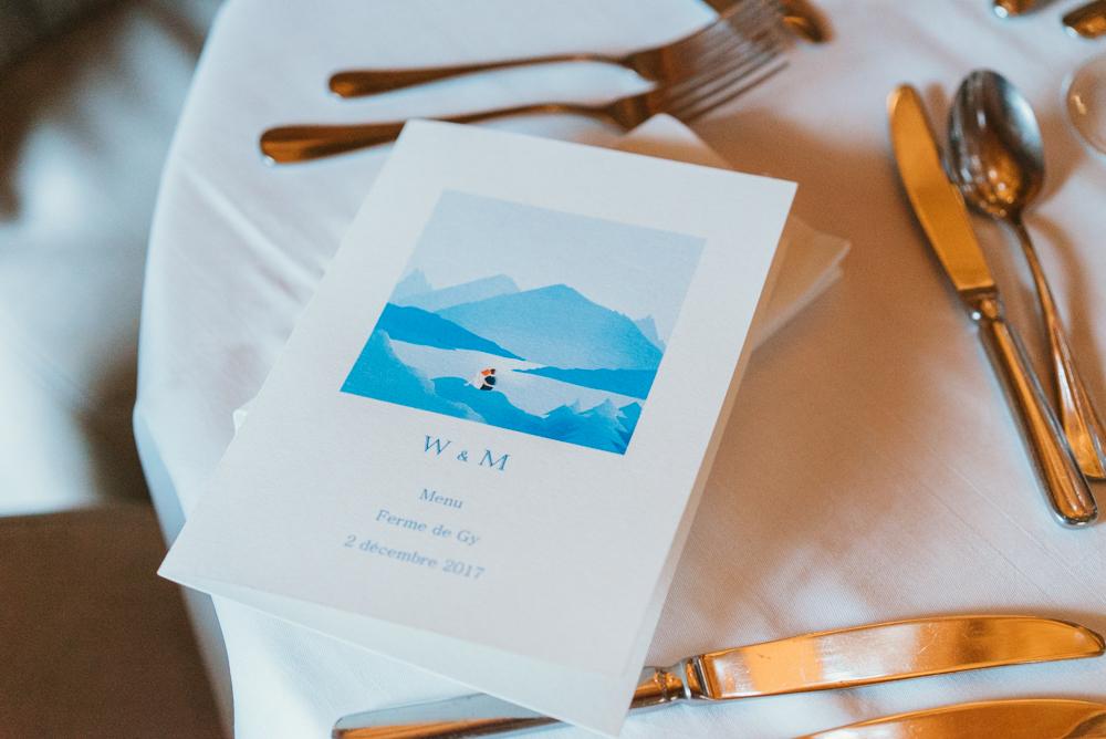 papeterie de mariage annecy menu ferme de gy